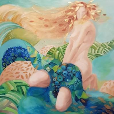 LA FILLE AUX CHEVEUX DE LIN 90X90 cm, acrylique sur toile ©MILENABERCHOT